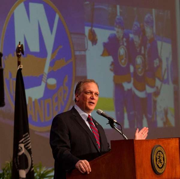 Nassau County Executive Edward Mangano delivers the State