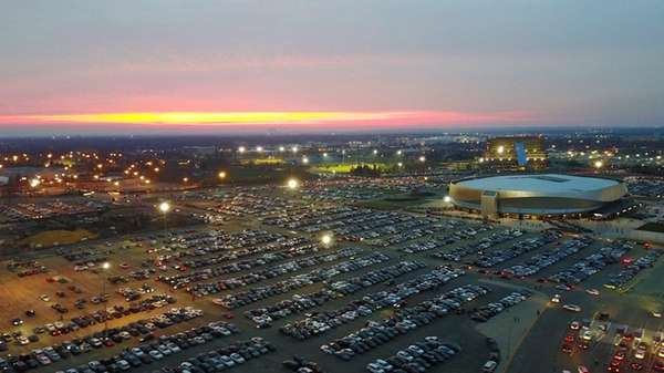 An aerial view of Nassau Coliseum and