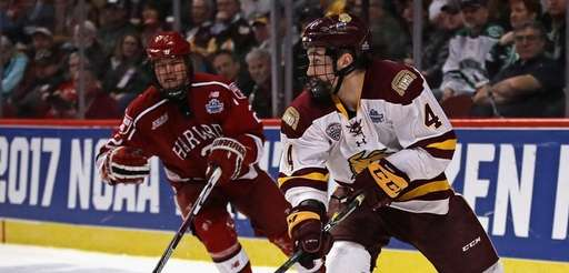 Neal Pionk #4 of the Minnesota-Duluth Bulldogs looks