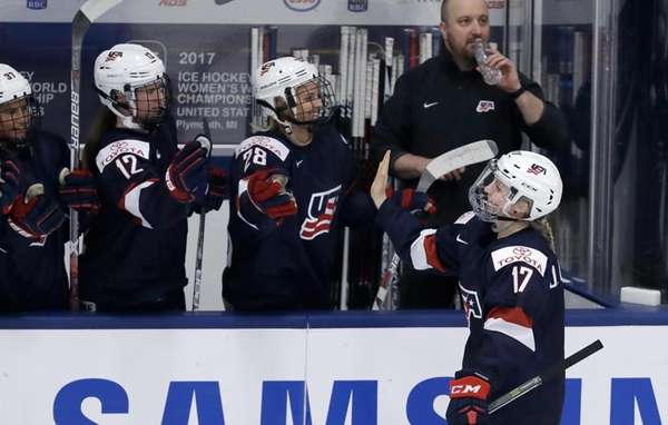 United States forward Jocelyne Lamoureux-Davidson is congratulated by