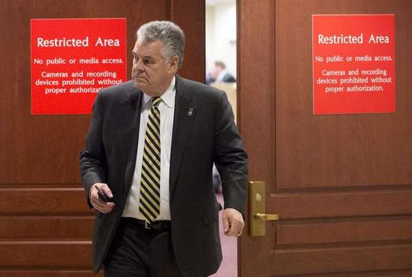 Rep. Peter King (R-Seaford), leaves a House Intelligence