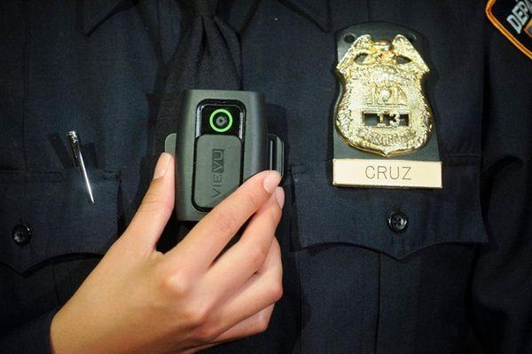 New York Police Department Sgt. Andrea Cruz wears