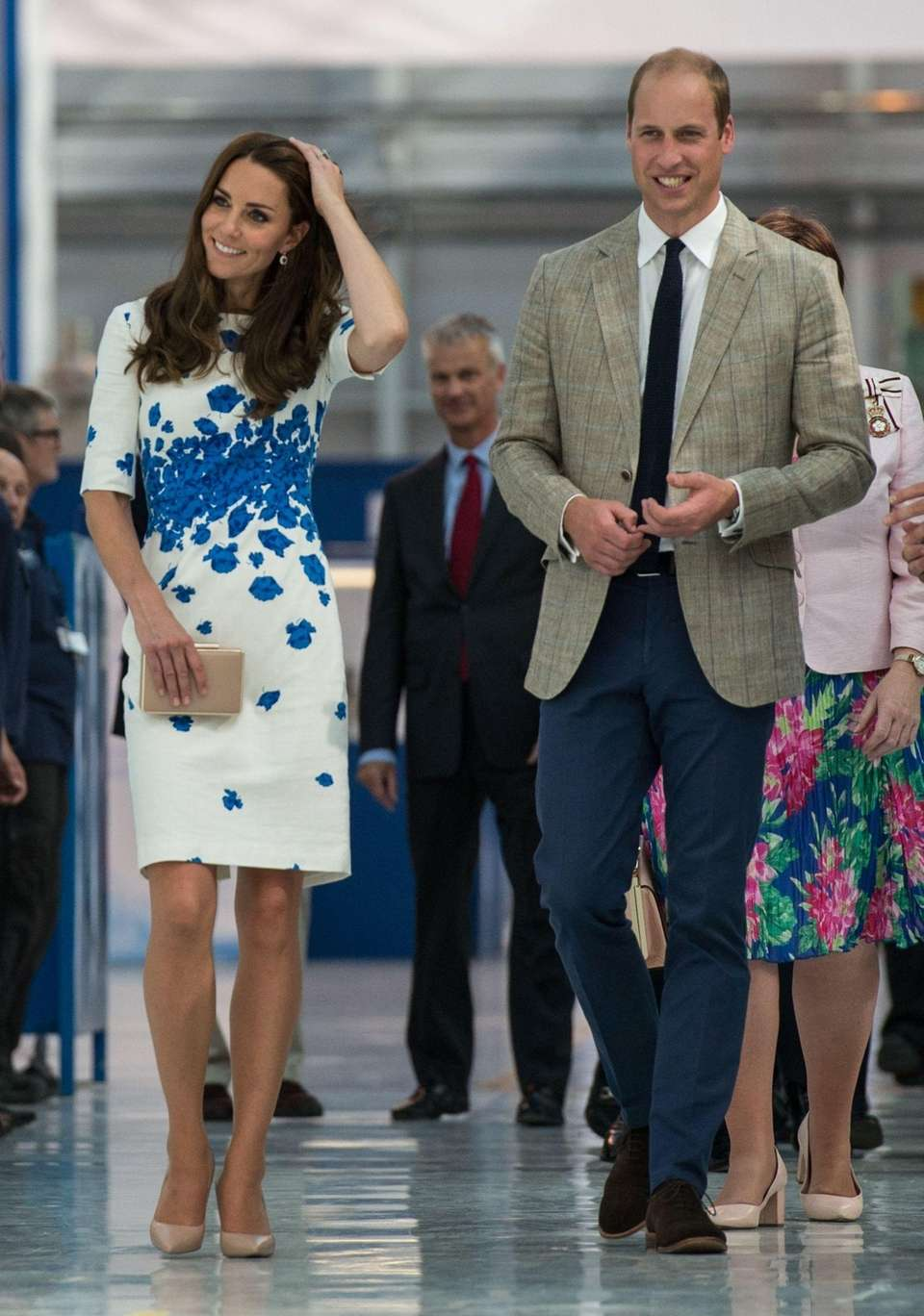 Prince William and Kate walk the factory floor