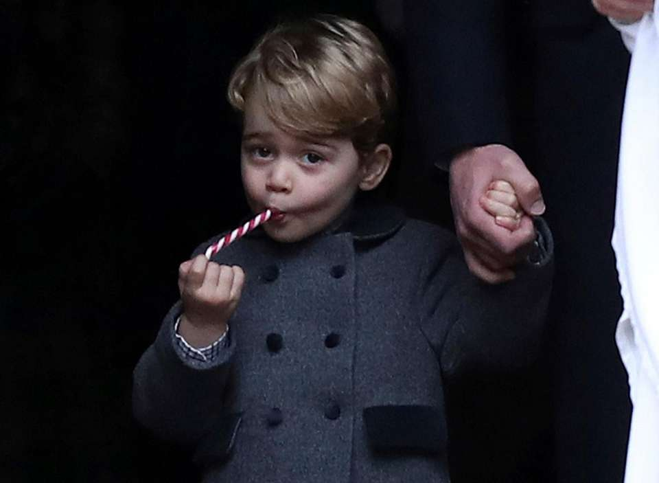Prince George leaves Christmas Day service at St