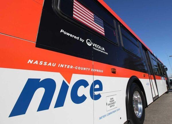 A Nassau Inter-County Express bus in Garden City