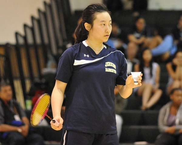 Jia Zhang of Jericho gets ready to serve