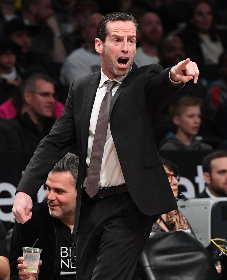 Brooklyn Nets head coach Kenny Atkinson directs his