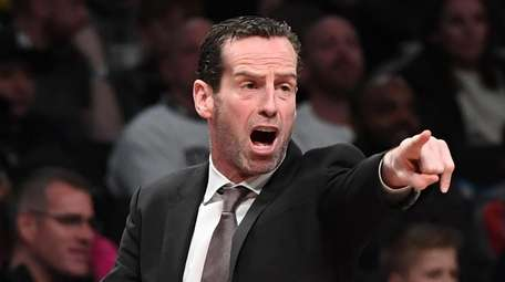 Brooklyn Nets head coach Kenny Atkinson directs his