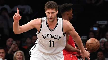 Brooklyn Nets center Brook Lopez reacts after he