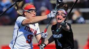 Stony Brook's Emma Schait #9 scores a goal