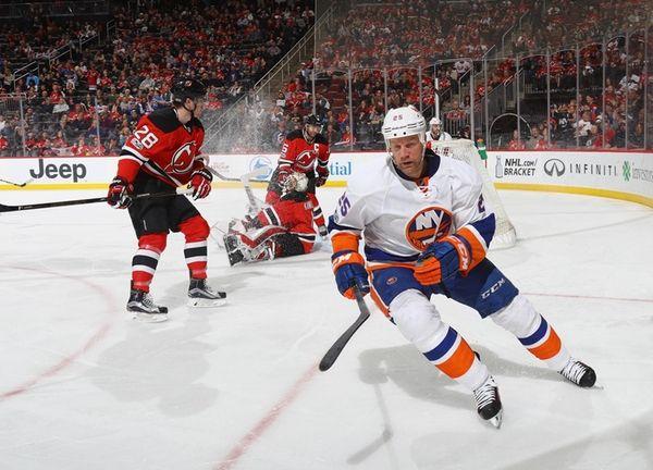 Jason Chimera, #25, of the New York Islanders