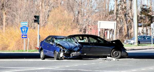 Two cars that collided Sunday in Centereach show