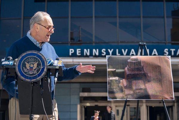 Sen. Chuck Schumer, speaking outside Penn Station in