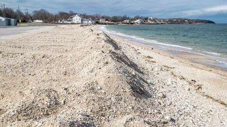 The sand nourishment project at Southold Town Beach,
