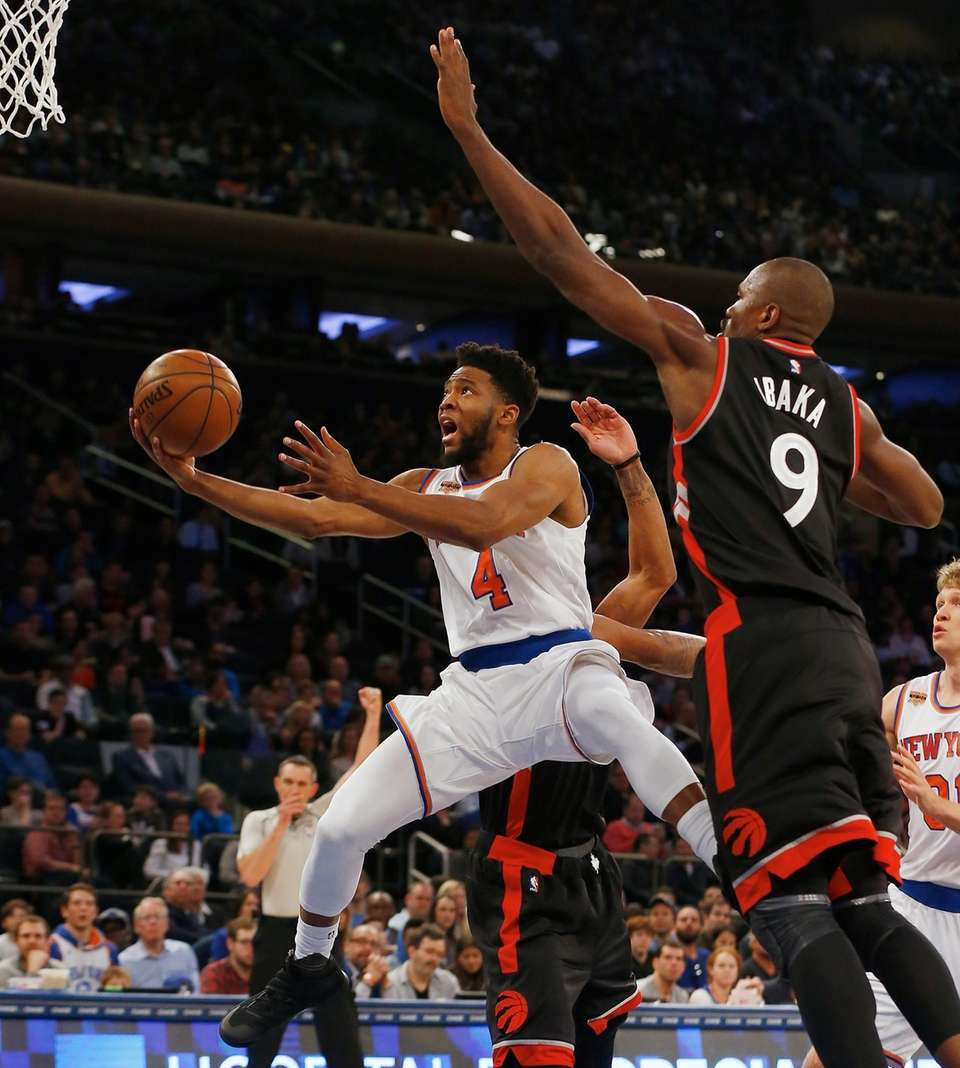 Chasson Randle, #4, of the New York Knicks