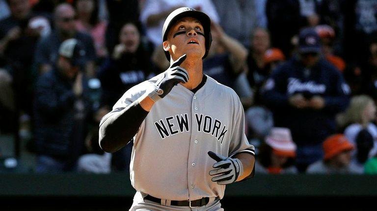 New York Yankees' Aaron Judge gestures as he