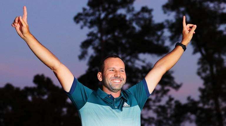 Sergio Garcia of Spain celebrates during the Green