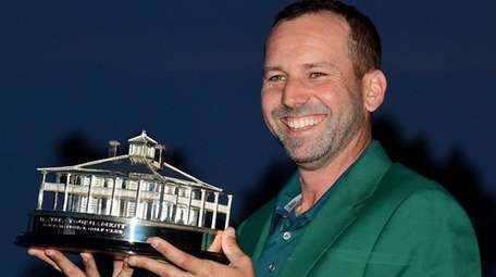 Sergio Garcia of Spain celebrates with the Masters