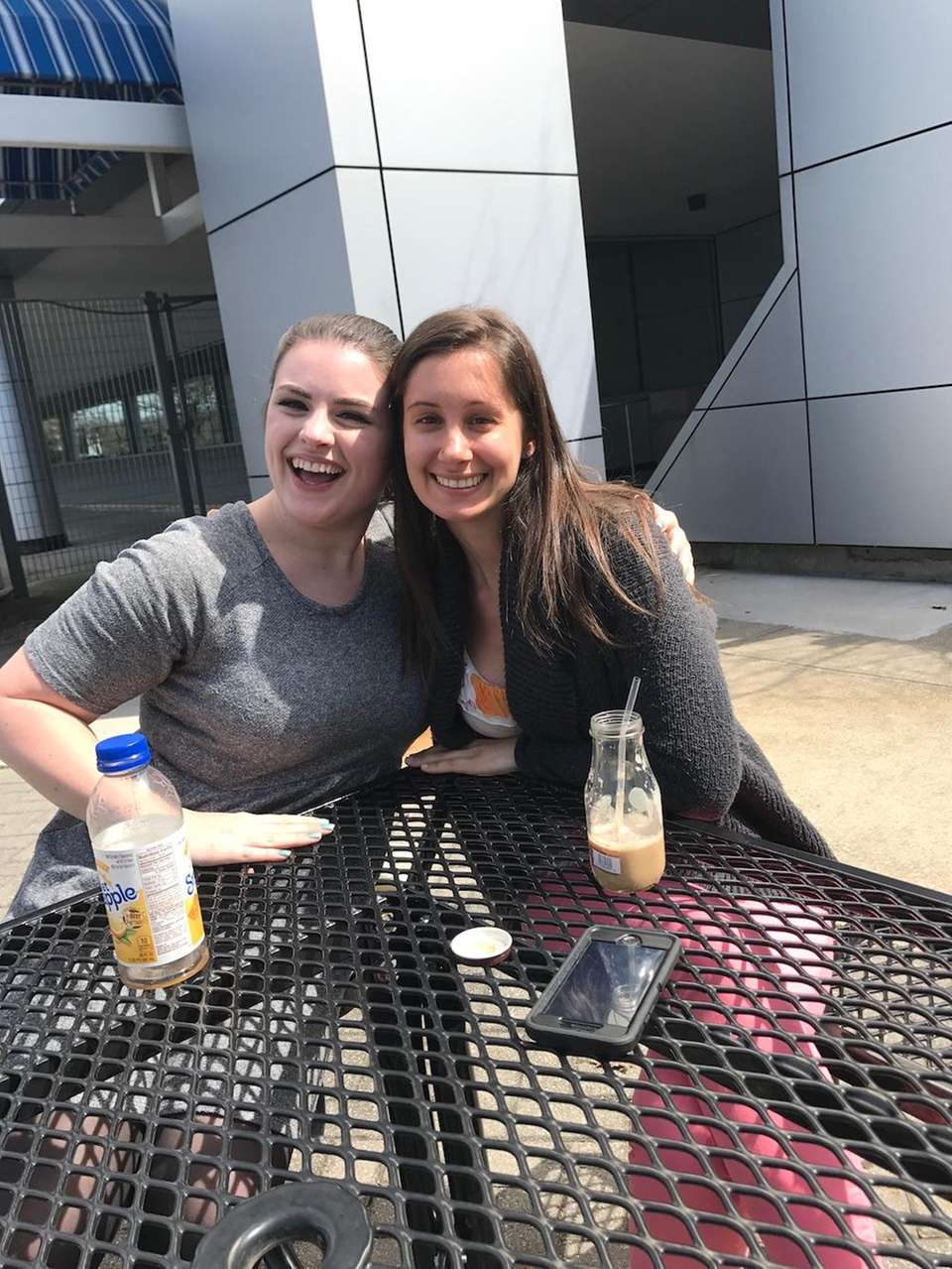 Enjoying the beautiful weather with my fabulous co-worker