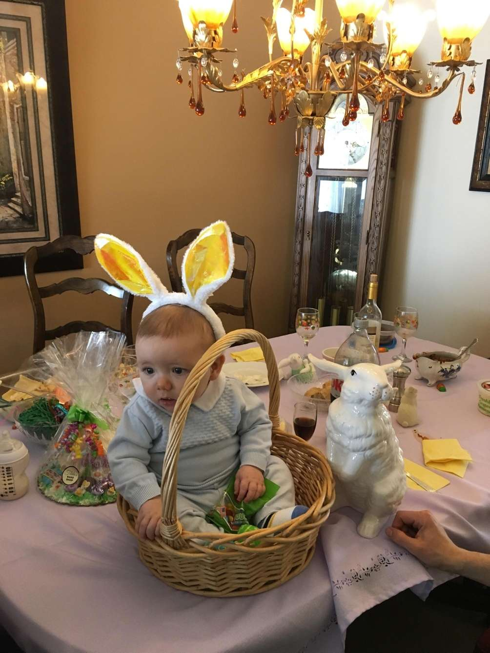 AJ, the little bunny on Palm Sunday at