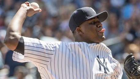 Michael Pineda throwing against the Tampa Bay Rays