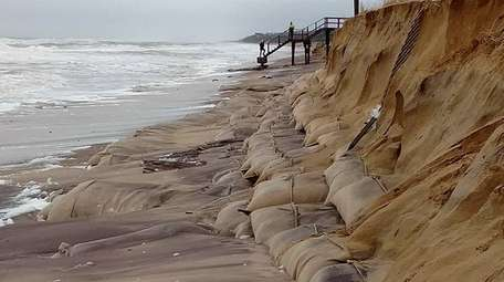 Beach erosion along the beach in Montauk on