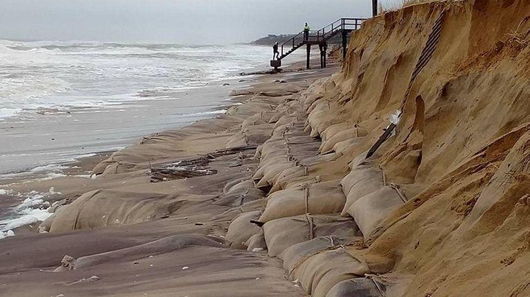 Beach erosion along the beach in Montauk on