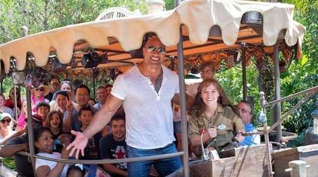 Dwayne Johnson rides the Jungle Cruise after a
