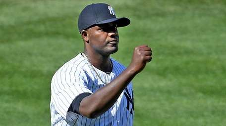New York Yankees pitcher Michael Pineda reacts in