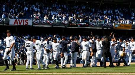 The New York Yankees celebrate their Opening Day