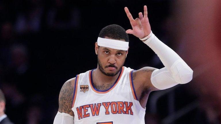 The Knicks' Carmelo Anthony checks in as coach