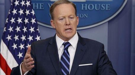 White House press secretary Sean Spicer speaks during