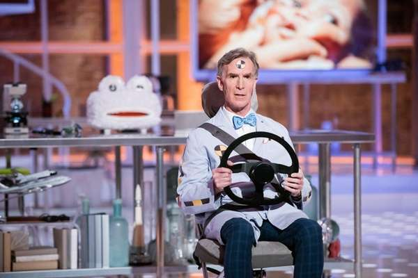 A scene from Bill Nye's new talk show,
