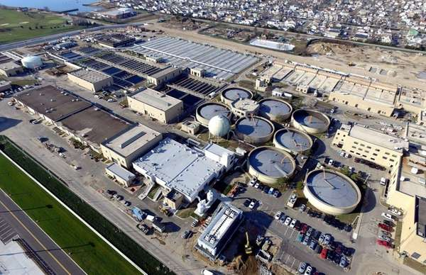An aerial view of the Bay Park Sewage