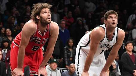 Chicago Bulls center Robin Lopez and Brooklyn Nets