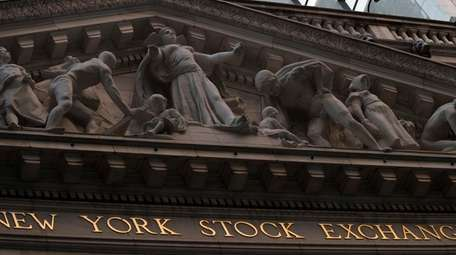 The New York Stock Exchange at sunset, in