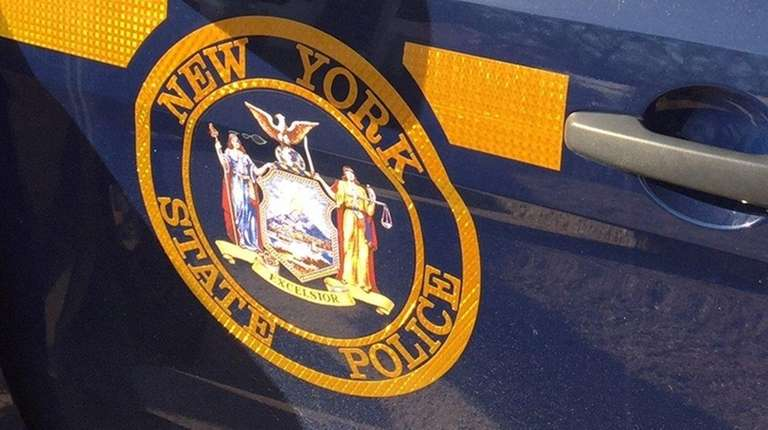 A New York State Trooper car with insignia