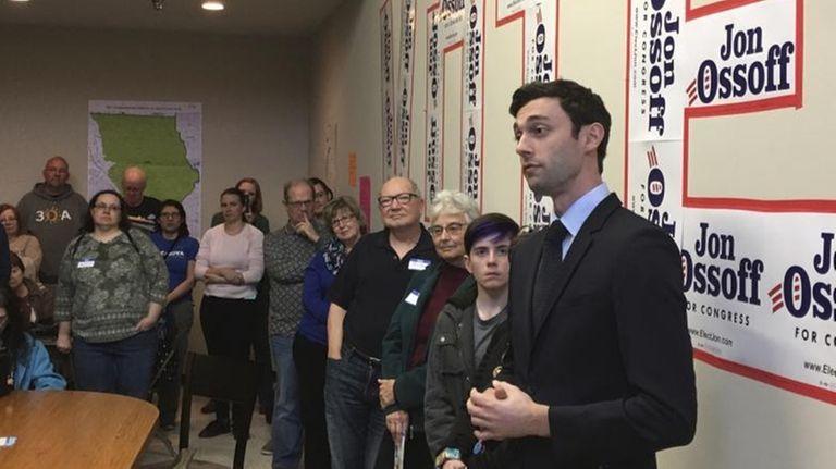 Georgia Democratic congressional candidate Jon Ossoff speaks to