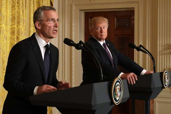 President Donald Trump with NATO Secretary General Jens
