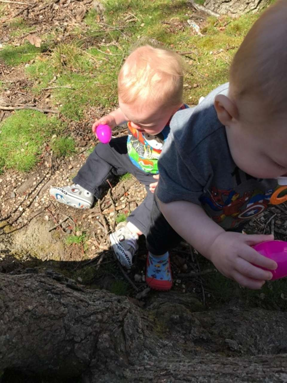 Luke and Liams 1st Easter egg hunt!!