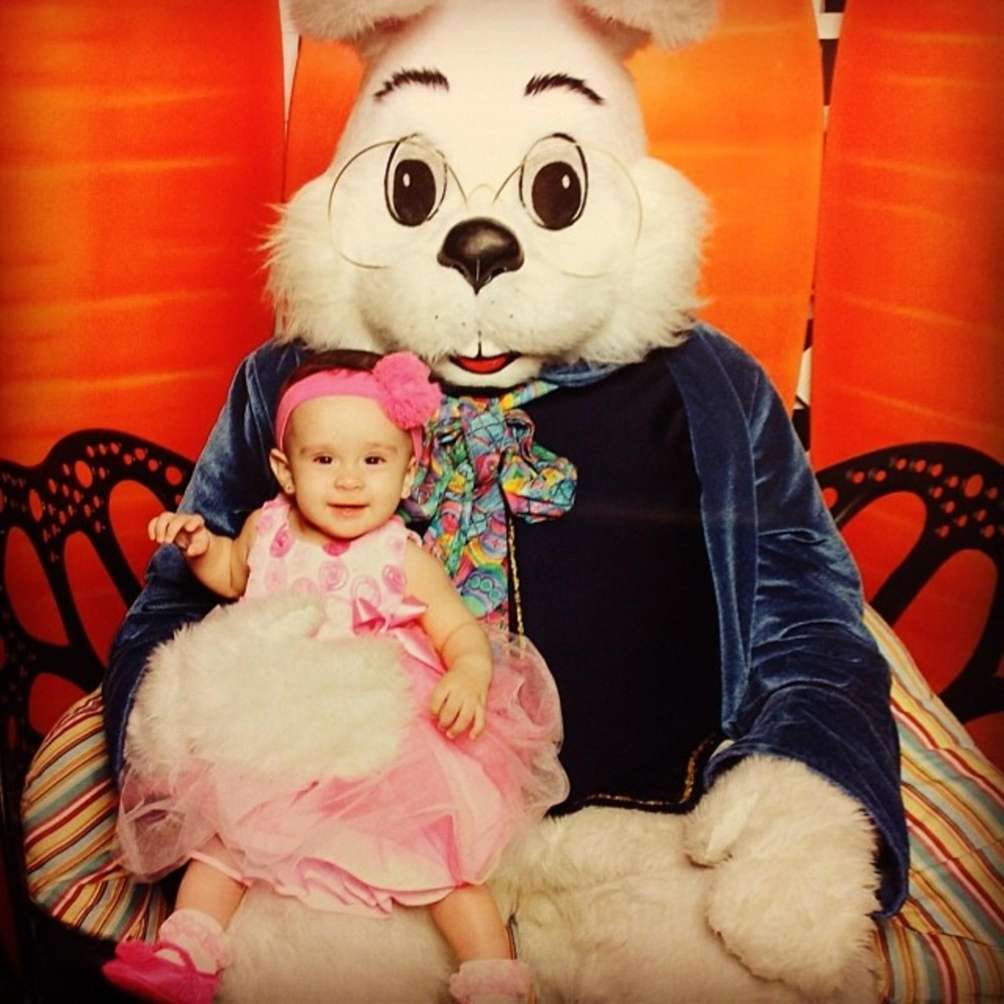 Delilah meeting the Easter Bunny for the first