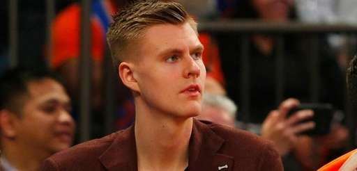 Kristaps Porzingis of the New York Knicks looks on