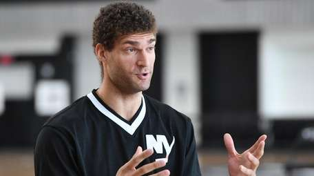 Nets center Brook Lopez speaks on the day