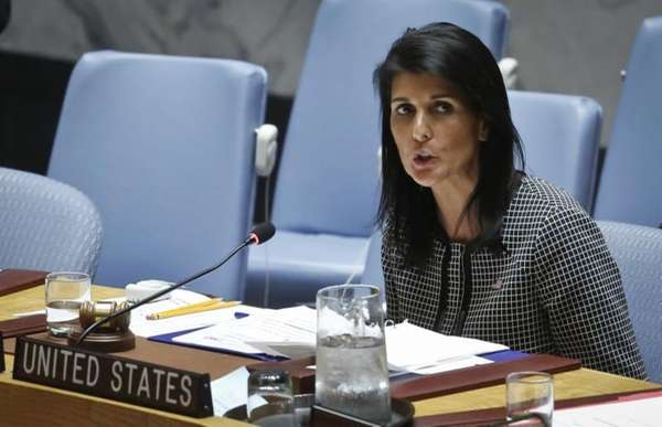 United Nations U.S. Ambassador Nikki Haley address the