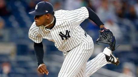 Yankees righthander Luis Severino pitches in the second