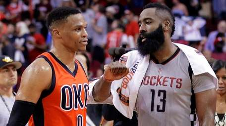 Oklahoma City Thunder's Russell Westbrook (0) and Houston