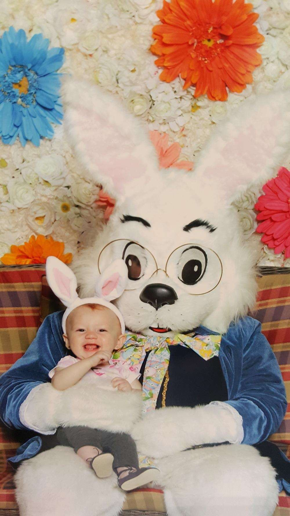 Emma has her first easter bunny meeting at