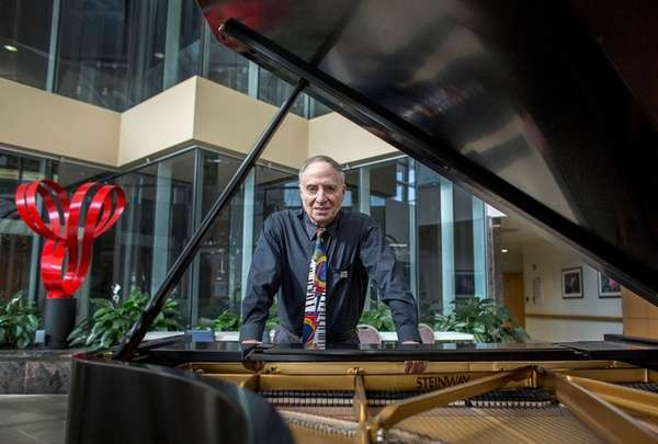 Gad Brosch, a long-retired doctor, plays lunchtime piano