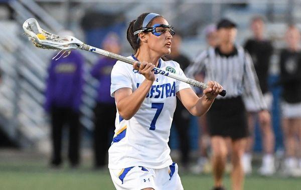 Hofstra's Alyssa Parrella looks to pass the ball