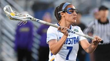 Hofstra's Alyssa Parrella looks to pass the ball